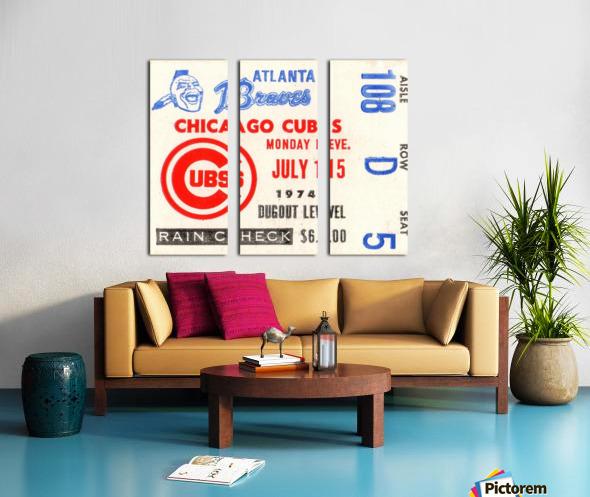 1974_Major League Baseball_Chicago Cubs vs. Atlanta Braves Ticket Stub Art Split Canvas print