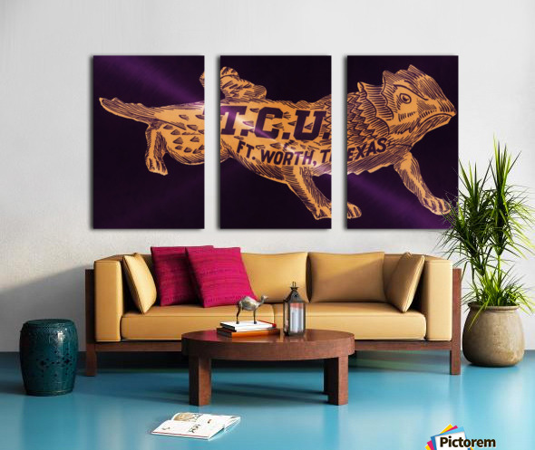 vintage college mascot art tcu horned frogs ft worth texas Split Canvas print