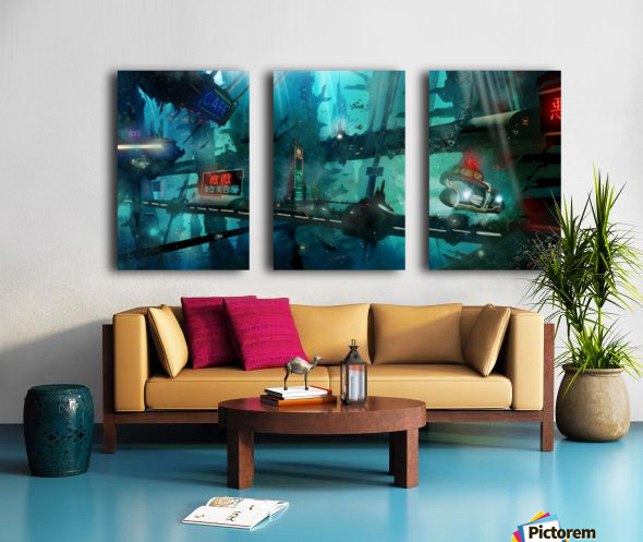 Future Noir - Abyss City Split Canvas print