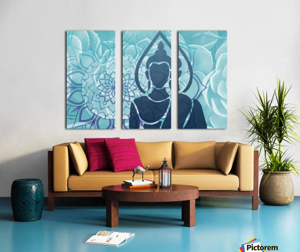 Buddha Mandala blue turqouise Split Canvas print