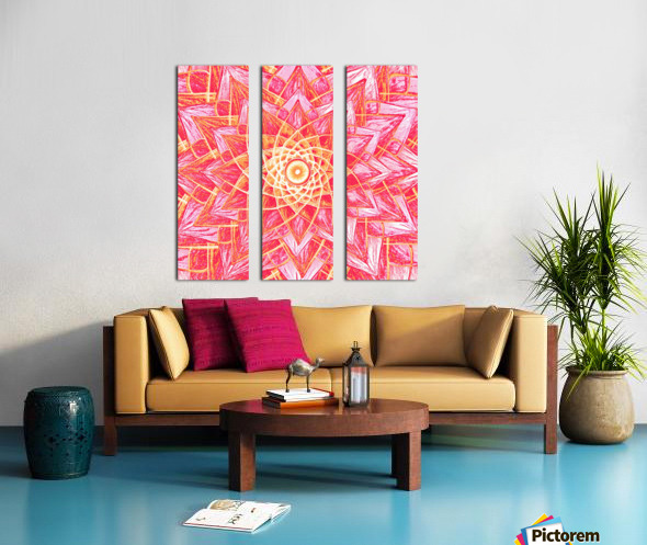 Red Flower Mandala Handdrawing  Split Canvas print