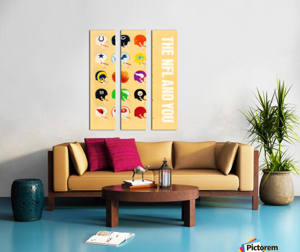 1963 vintage nfl helmets reproduction art Split Canvas print