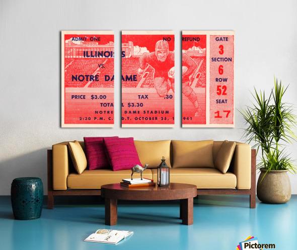 1941 illinois illini notre dame irish college football ticket sports wall art south bend indiana Split Canvas print