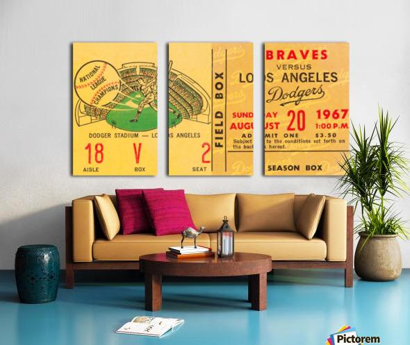 1967 la dodgers atlanta braves baseball sports ticket art  Split Canvas print