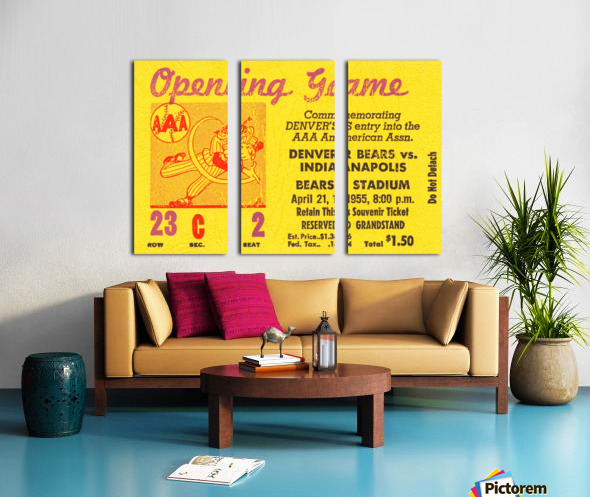 1955 aaa baseball denver bears opening game baseball ticket stub frame canvas Split Canvas print