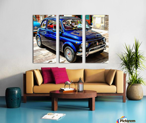 Fiat 500 Dark Blue Version Split Canvas print