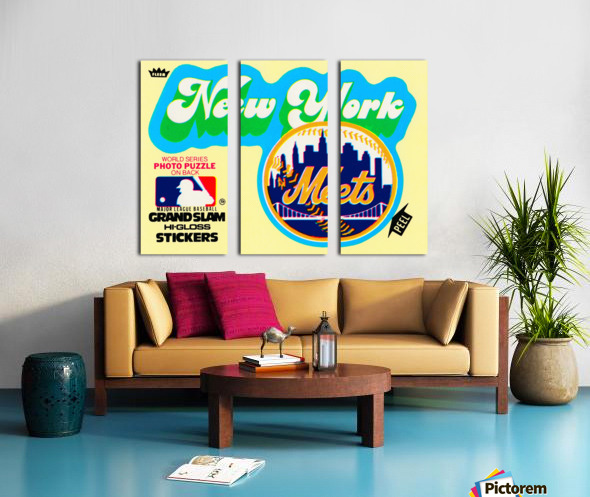 1979 fleer hi gloss sticker new york mets wall art Split Canvas print