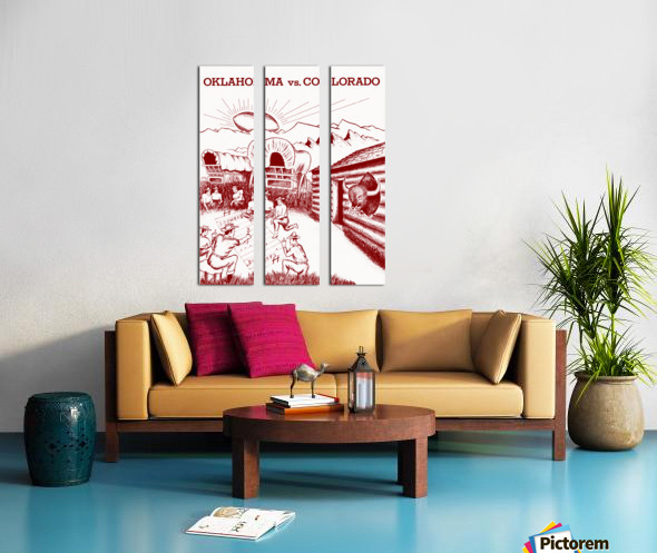 1954 oklahoma sooners colorado buffaloes football program canvas artwork Split Canvas print