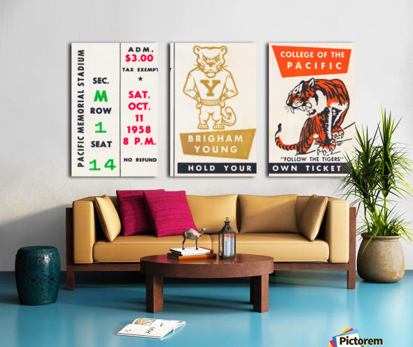 1958 college of the pacific brigham young football ticket art Split Canvas print