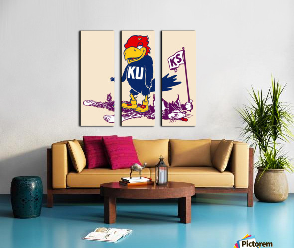 Vintage Kansas Jayhawk Standing Over K-State Wildcat Art Split Canvas print
