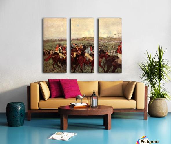 Men s riders before the start by Degas Split Canvas print
