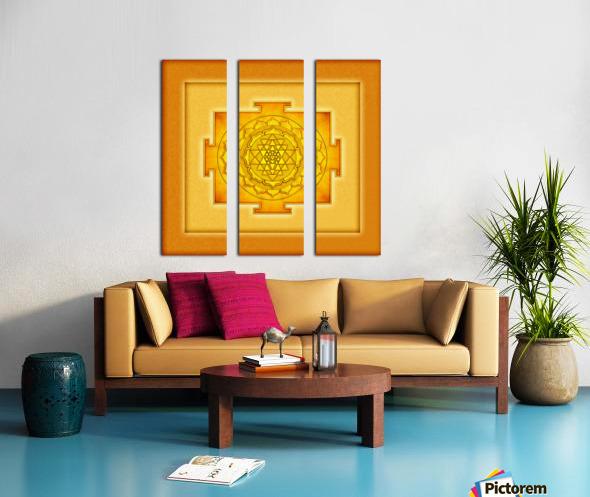 Golden Sri Yantra III Split Canvas print