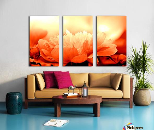 Heavenly Peony Orange Split Canvas print