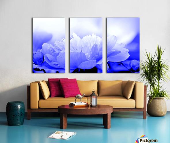Heavenly Peony Blue Split Canvas print