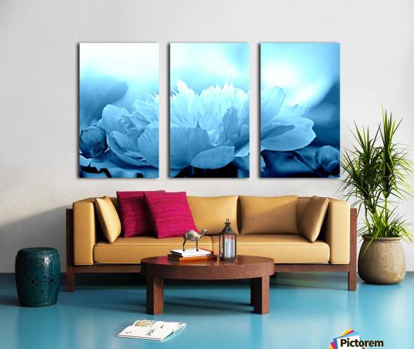 Heavenly Peony Aqua Blue Split Canvas print