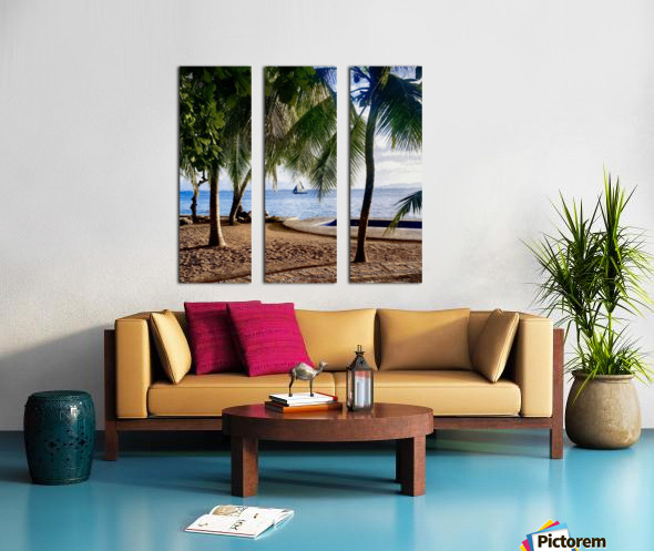 Sailboat And Palms Split Canvas print