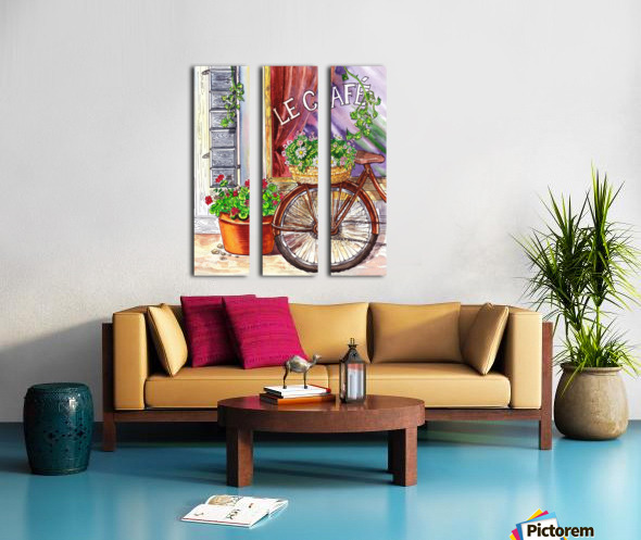 French Cafe And Bicycle With Basket Split Canvas print