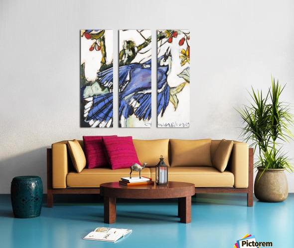 Louisiana Blue Jay Study on Wood Split Canvas print