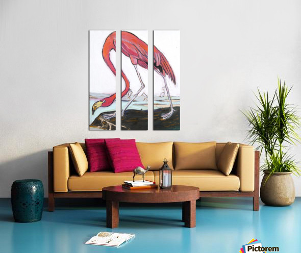 Louisiana Flamingo Study on Wood Split Canvas print