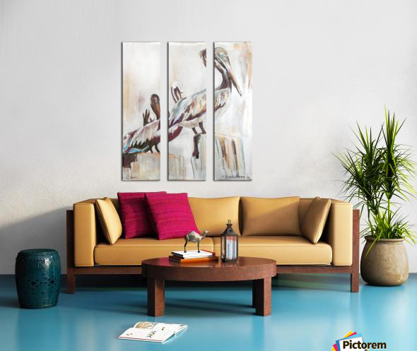 Louisiana Pelicans in the Fog with Metallic Silver Split Canvas print