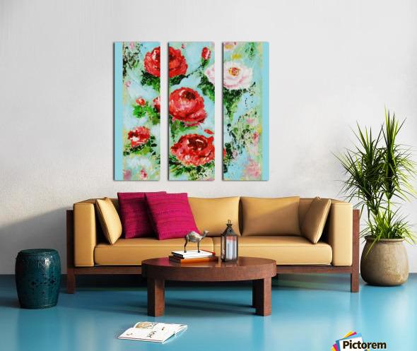 Roses on Aqua Split Canvas print