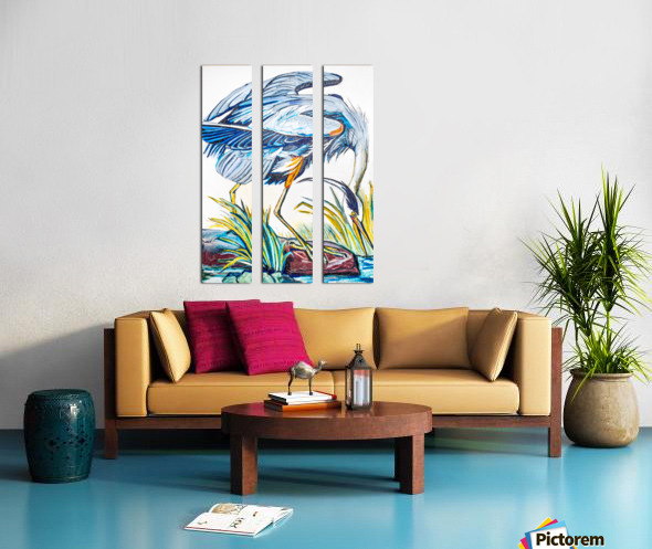 Louisiana Blue Heron Catching Fish- Bright Split Canvas print