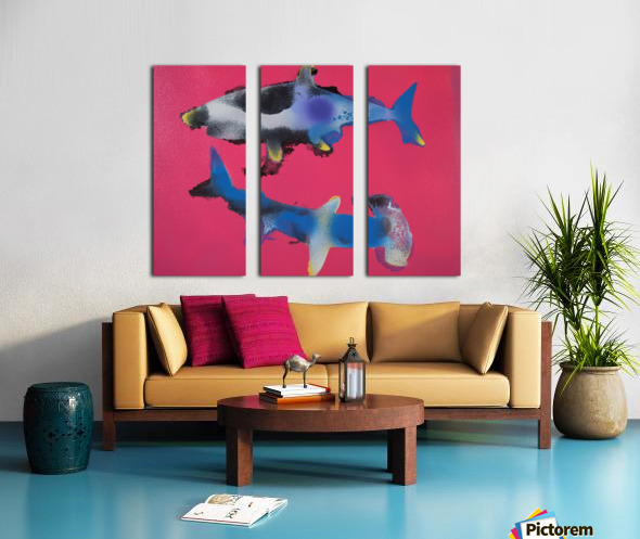 TWO HUNGRY SHARKS Split Canvas print