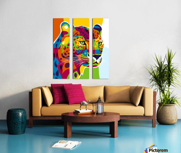 The Colorful Leopard Split Canvas print