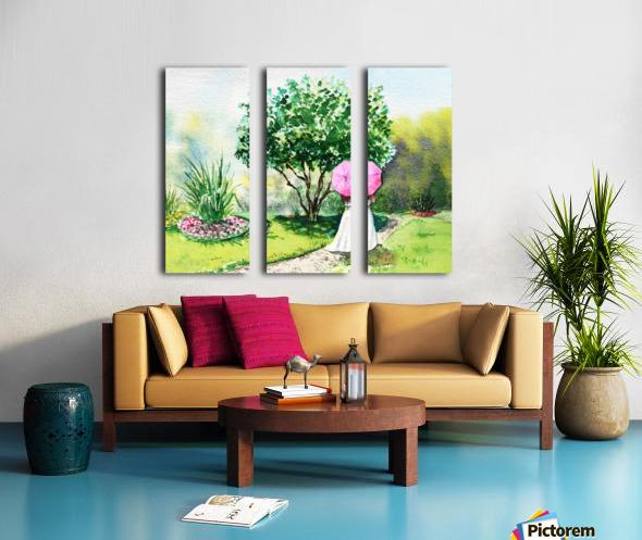 Girl With Pink Umbrella Split Canvas print