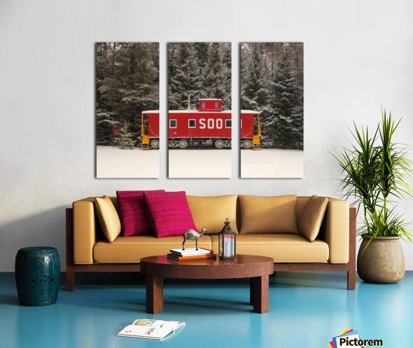 Soo Caboose in Fresh Snow Split Canvas print