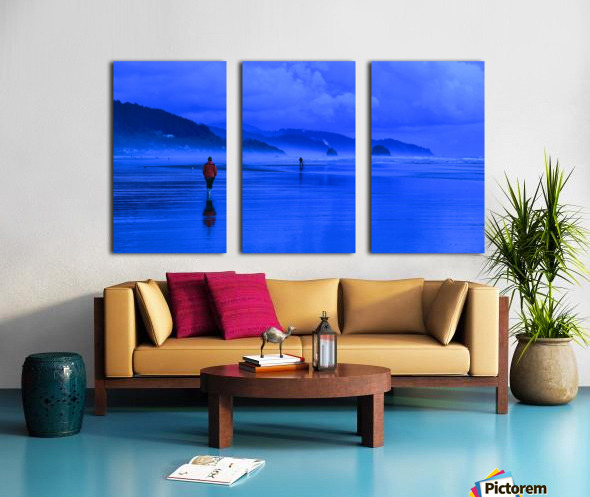 Woman in Red on Blue Beach Split Canvas print