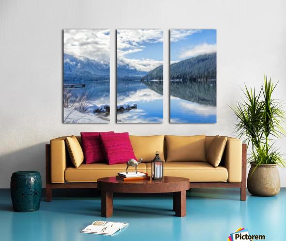 Snowy Day on the Lake Split Canvas print