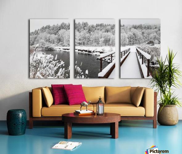 Rugby Pitch Bridge- Winter Split Canvas print