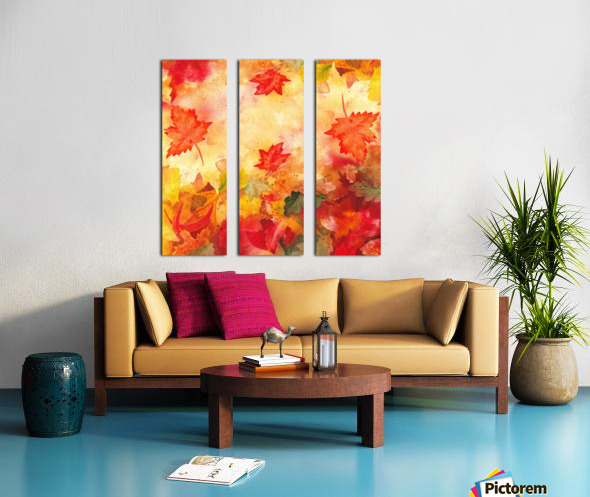 Welcome Fall Red Green Yellow Birch Oak Maple Watercolor Leaves Split Canvas print