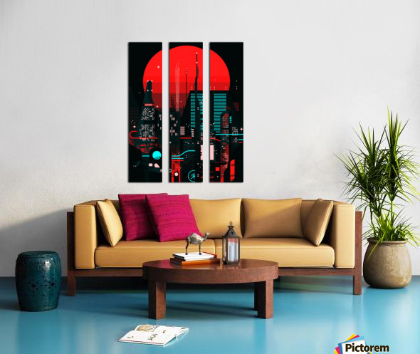 Neon City Split Canvas print