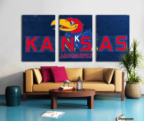 1950s Kansas Jayhawk Art Split Canvas print