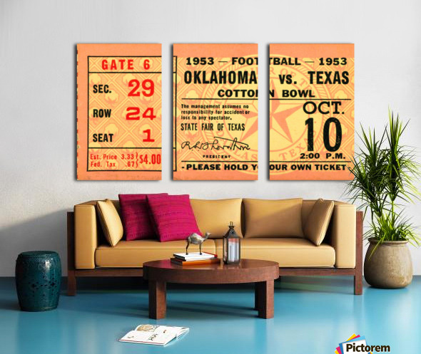 1953 Oklahoma vs. Texas Split Canvas print