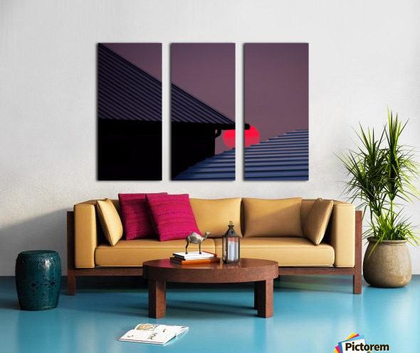 Smokey Sunset and Steel Roofs Split Canvas print