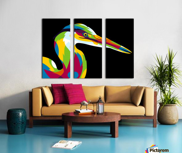 Great Heron in Pop Art Style Split Canvas print