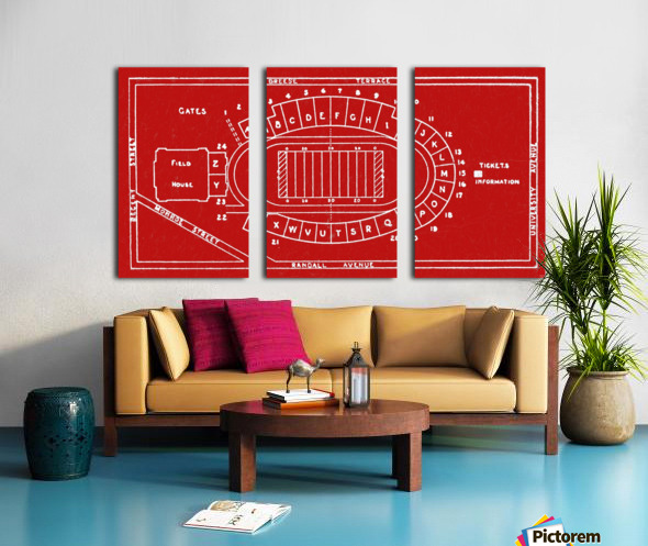 1937 Camp Randall Stadium Map Split Canvas print