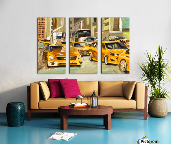 Cabs rushing By Split Canvas print