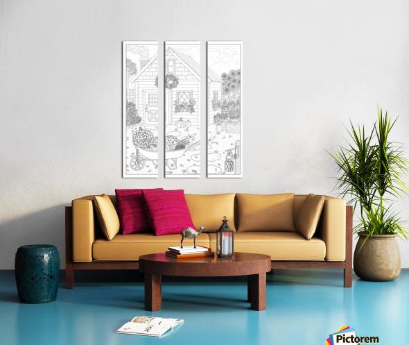 Autumn Cottage Coloring Page Split Canvas print