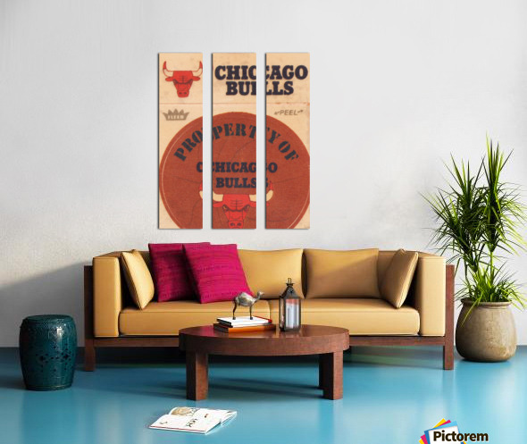 1974 Chicago Bulls Fleer Decal Art Split Canvas print