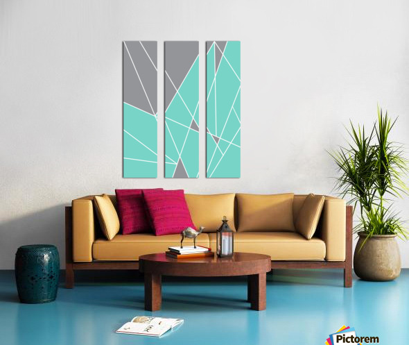 Gray Teal Triangles Geometric Art GAT101-2 Split Canvas print
