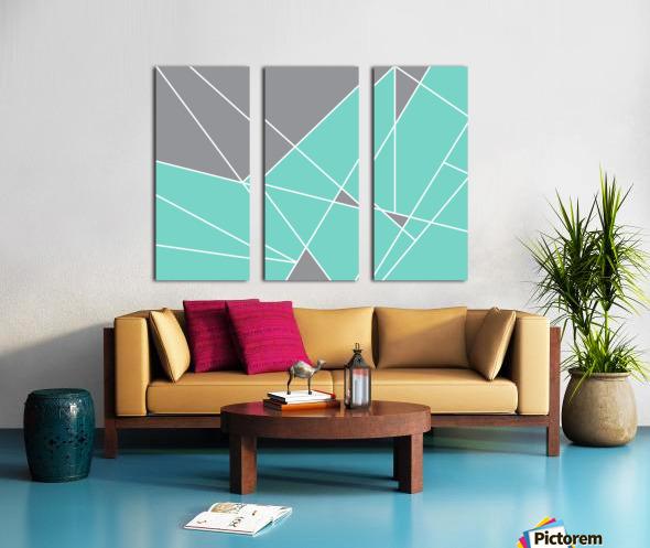 Gray Teal Triangles Geometric Art GAT101-3 Split Canvas print