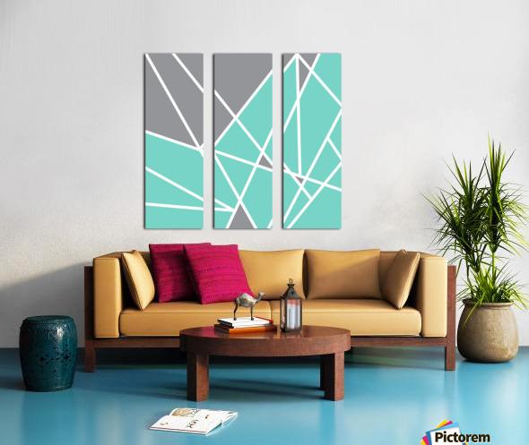 Gray Teal Triangles Geometric Art GAT101 square Split Canvas print