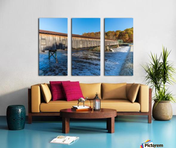 Harpersfield covered bridge and dam Ashtabula County autumn 2020 Split Canvas print