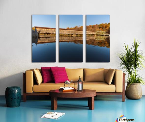 Harpersfield covered bridge and reflection Ashtabula County Ohio Split Canvas print