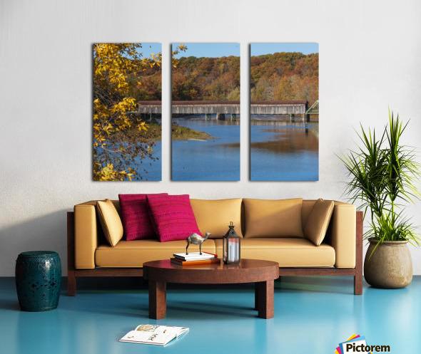Harpersfield Ohio covered bridge in autumn Split Canvas print