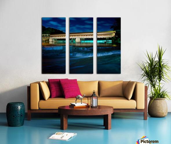 Night image of Harpersfield Covered Bridge over Grand River Ohio Split Canvas print